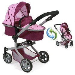 Mika pram 74,5 cm convertible to pushchair for dolls - Bayer Chic 2000 - Raspberry-pink stars