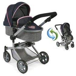 Mika pram 74,5 cm convertible to pushchair for dolls - Bayer Chic 2000 - Navy-Grey