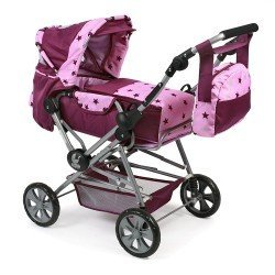Road Star doll pram 82 cm - Bayer Chic 2000 - Raspberry-pink stars