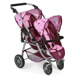 Vario twin Pushchair 79 cm for dolls - Bayer Chic 2000 - Raspberry-pink stars