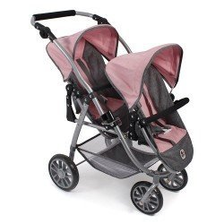 Vario twin Pushchair 79 cm for dolls - Bayer Chic 2000 - Pink-Grey
