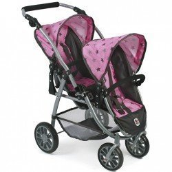 Vario twin Pushchair 79 cm for dolls - Bayer Chic 2000 - Grey stars