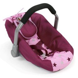 Car Seat for dolls of 46 cm - Bayer Chic 2000 - Raspberry-pink stars