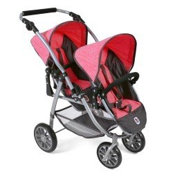 Vario twin Pushchair 79 cm for dolls - Bayer Chic 2000 - Coral-Grey