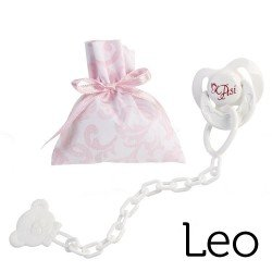 Así doll Complements for Leo - Pacifier with clip and pink and white cashmere bag