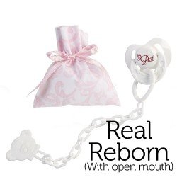 Así doll Complements for Real Reborn with open mouth - Butterfly pacifier with clip and pink and white cashmere bag