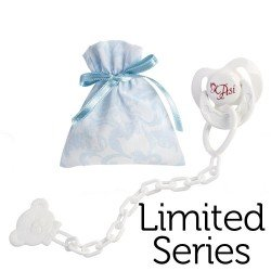 Así doll Complements for Limited Series Reborn - Pacifier with clip and light blue and white cashmere bag