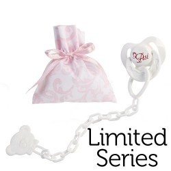 Así doll Complements for Limited Series Reborn - Pacifier with clip and pink and white cashmere bag