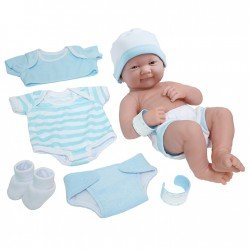 Designed by Berenguer doll 36 cm - La Newborn - Tender care with closed mouth and clothes set