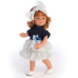 D'Nenes doll 34 cm - Red haired Marieta with dots bow