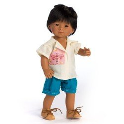 D'Nenes doll 34 cm - Mario with shirt and blue trousers