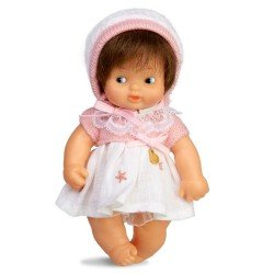 Barriguitas Classic doll 15 cm - Brunette baby girl with dress