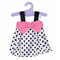 Nenuco doll Outfit 42 cm - White with black polka dots dress with pink bond