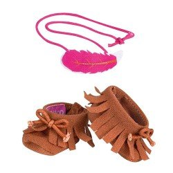 Shoes and accessories for Nenuco doll 35 cm - Brown booties and hair tie