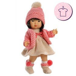 Clothes for Llorens dolls 28 cm - Beige knitted dress with pink jacket, hat and booties
