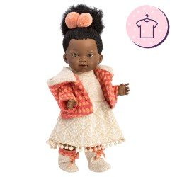Clothes for Llorens dolls 28 cm - Beige knitted dress with pink and orange jacket and booties