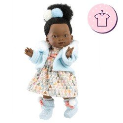 Clothes for Llorens dolls 28 cm - Triangle print dress with blue jacket and booties