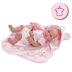 Clothes for Llorens dolls 38 cm - Pink dungarees with dots
