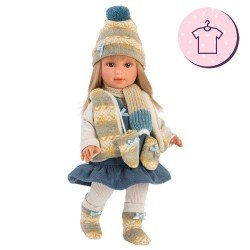 Clothes for Llorens dolls 40 cm - Blue dress with winter print vest, scarf, hat and booties