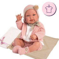 Clothes for Llorens dolls 43 cm - Pink knitted outfit with hat and booties