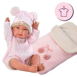 Clothes for Llorens dolls 43 cm - Pink knitted romper with hat and sleeping bag