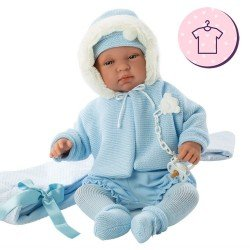 Clothes for Llorens dolls 44 cm - Blue knitted outfit with jacket, hat and booties