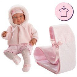 Clothes for Llorens dolls 44 cm - Pink knitted outfit with jacket, hat and booties