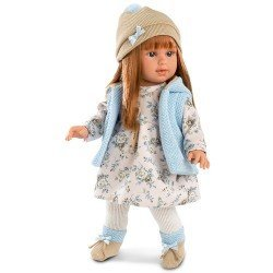 Llorens doll 40 cm - Martina red haired with flower printed dress