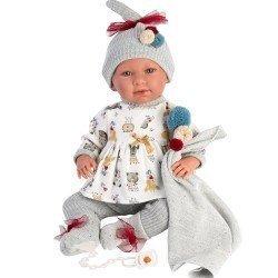 Llorens doll 42 cm - Newborn Crying Mimi with blanket