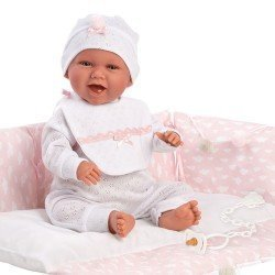 Llorens doll 42 cm - Newborn Mimi Smiles with pink changing mat