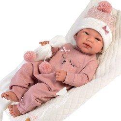 Llorens doll 43 cm - Newborn Tina with cushion