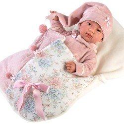 Llorens doll 44 cm - Newborn Crying Tina with sleeping bag