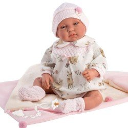 Llorens doll 44 cm - Newborn Crying Tina with sleeping bag-bag
