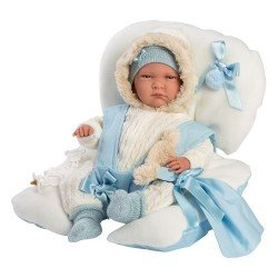 Llorens doll 42 cm - Newborn Crying Lalo with blue baby seat