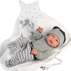 Llorens doll 43 cm - Newborn Tino with star blanket