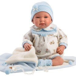 Llorens doll 44 cm - Newborn Crying Tino with sleeping bag-bag