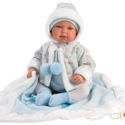 Llorens doll 44 cm - Newborn Crying Tino with blue blanket