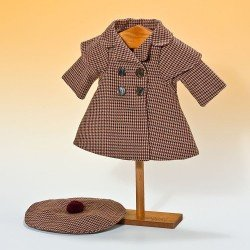 Outfit for Mariquita Pérez doll 50 cm - Brown, black and maroon coat with beret