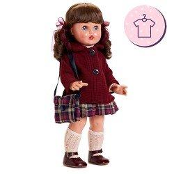 Outfit for Mariquita Pérez doll 50 cm - Burgundy schoolgirl set
