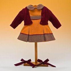 Outfit for Mariquita Pérez doll 50 cm - Ocher pinafore set winter 2012