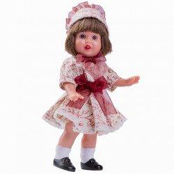 Muñeca Mini Mariquita Pérez 21 cm - Con vestido beige de flores bourdeos