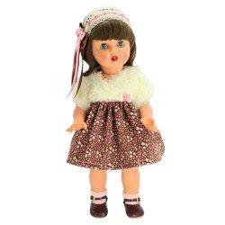 Mariquita Pérez doll 50 cm - With brown dress with little flowers