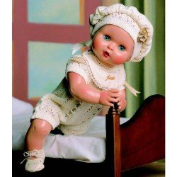 Baby Juanín doll 40 cm - With knitted rompers with beige beret