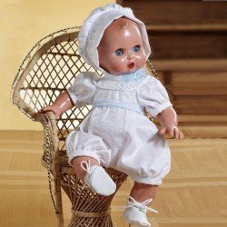 Baby Juanín doll 40 cm - With white rompers and hood
