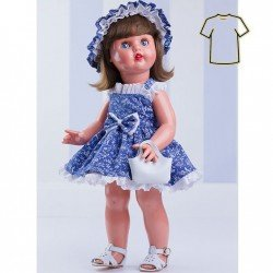 Ropa para muñeca Mariquita Pérez 50 cm - Vestido de flores azul