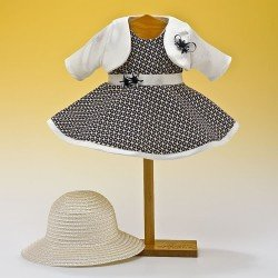 Outfit for Mariquita Pérez doll 50 cm - Navy blue dress with hat