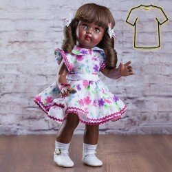 Outfit for Mariquita Pérez doll 50 cm - Fuchsia dress with flowers