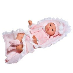 Así doll 36 cm - Koke with white romper with pink jacket and blanket