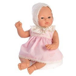 Así doll 36 cm - Koke with pink dress with beige embroided hood
