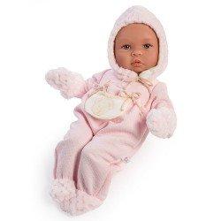 Así doll 46 cm - Leo pink baby romper with beige pocket